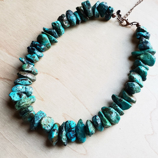 Chunky Natural Turquoise Collar Length Necklace (245b) 1