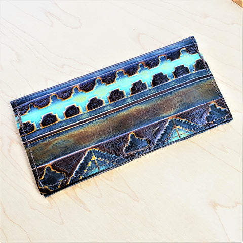 Embossed Leather Wallet-Blue Navajo 300a
