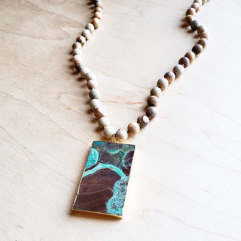 Bohemian Natural JASPER Beaded Necklace with Ocean Agate Pendant 245u