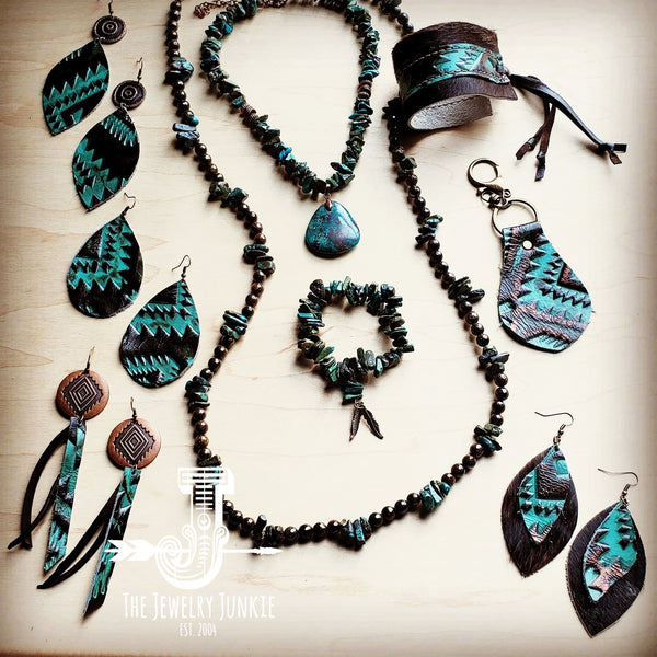**Leather Teardrop Earring-Turquoise Aztec (200a)