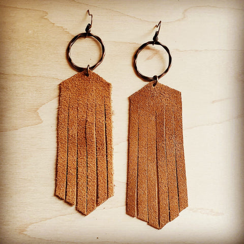 Suede Leather Fringe Earrings Tan 238C