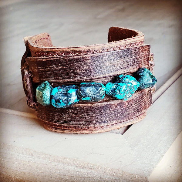 Dusty Leather Wide Cuff with African Turquoise Chunks 006p