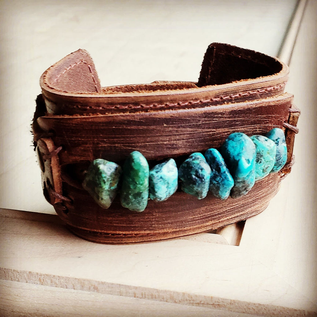 Dusty Leather Wide Cuff with Large Natural Turquoise Chunks 007u