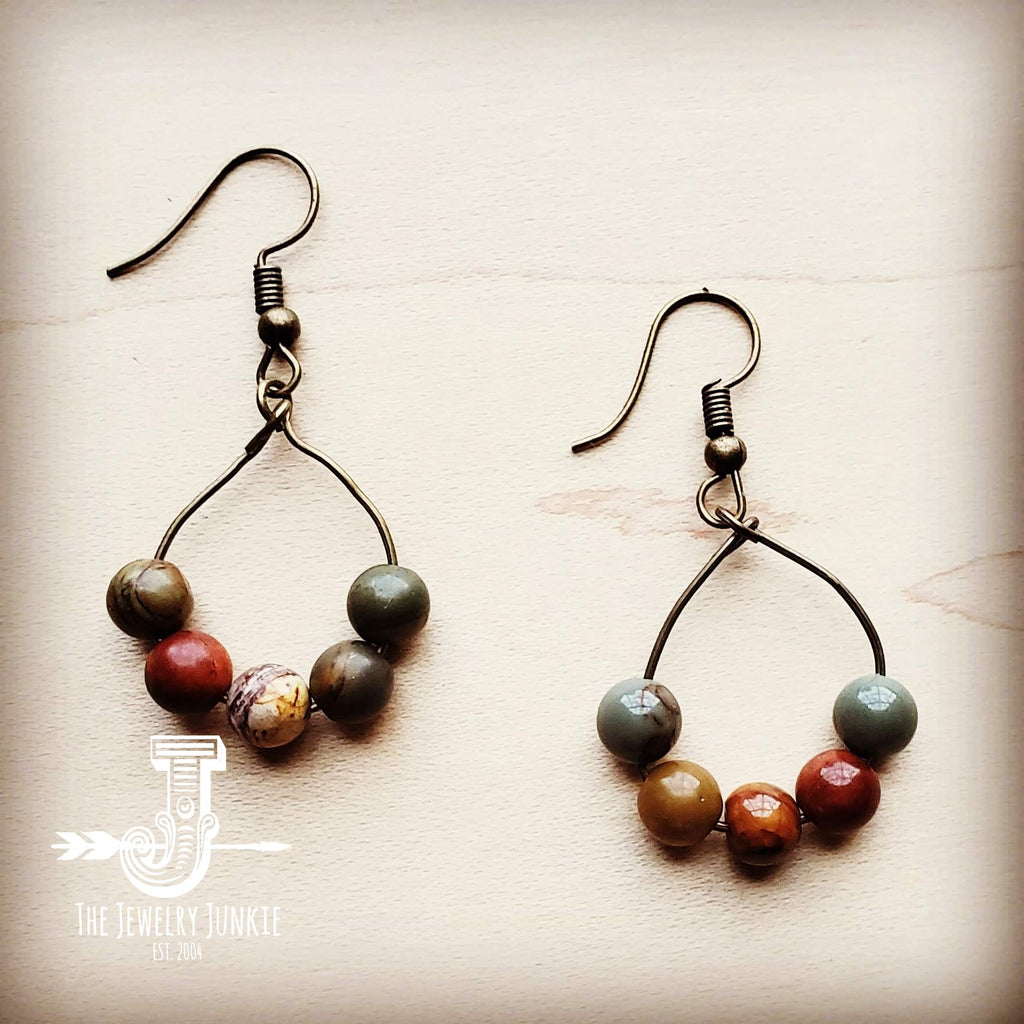 Picasso Jasper Small Hoop Earring 201m