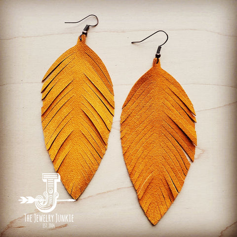 Light Tan Suede Feather Earrings (201f)