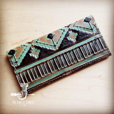 Embossed Leather Wallet-Turquoise Navajo 300L