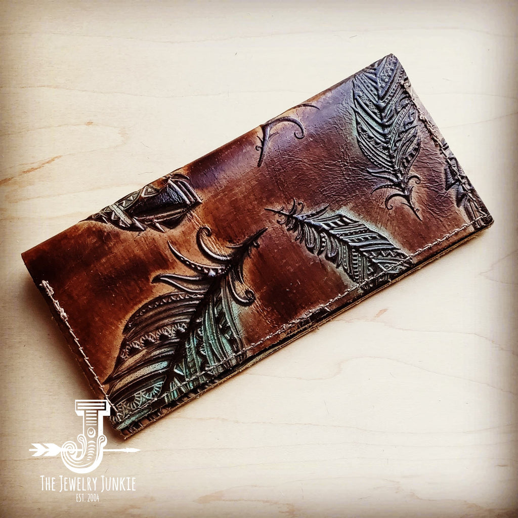 Embossed Leather Wallet-Turquoise Feather 300b