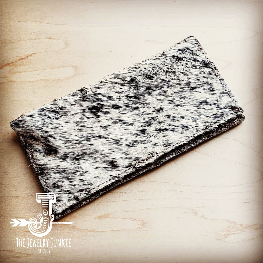 Hair-on-Hide Leather Wallet-Gray and White 300q