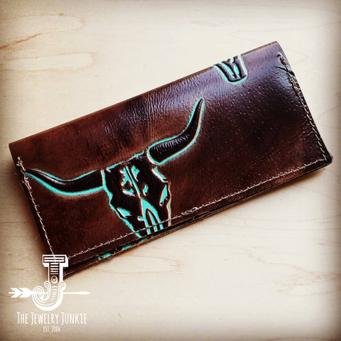 Embossed Leather Wallet-Turquoise Steer 300i