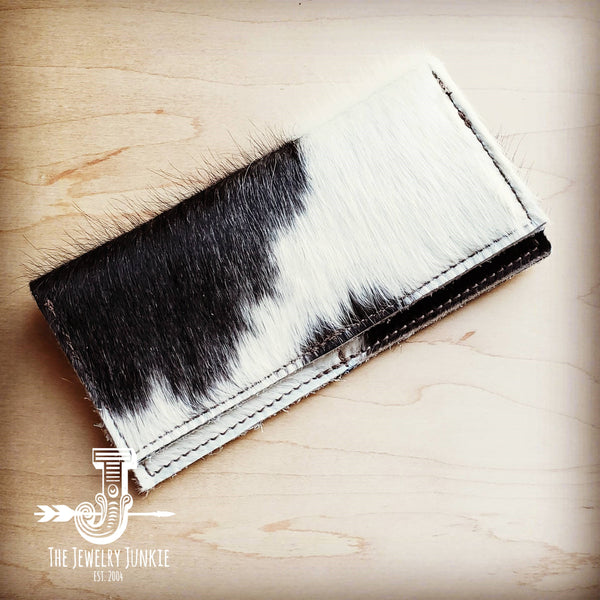 Hair-on-Hide Leather Wallet- Spotted with White 300w