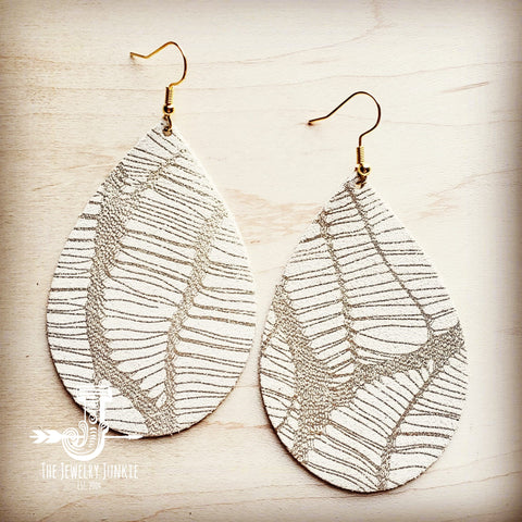 **Leather Teardrop Earrings in Gold and White Leaf 200u