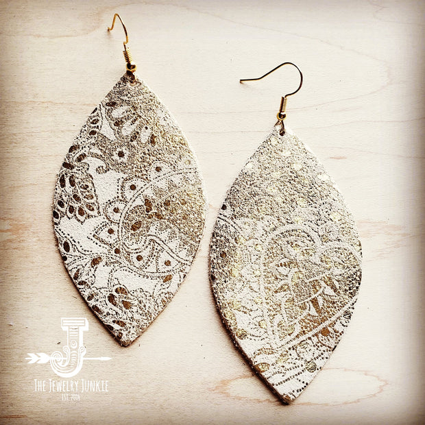 Leather Oval Earrings in White and Gold Paisley 200r 1
