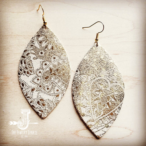 Leather Oval Earrings in White and Gold Paisley 200r
