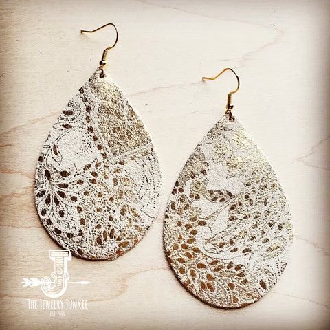 Leather Teardrop Earrings in Gold and White Paisley 200q