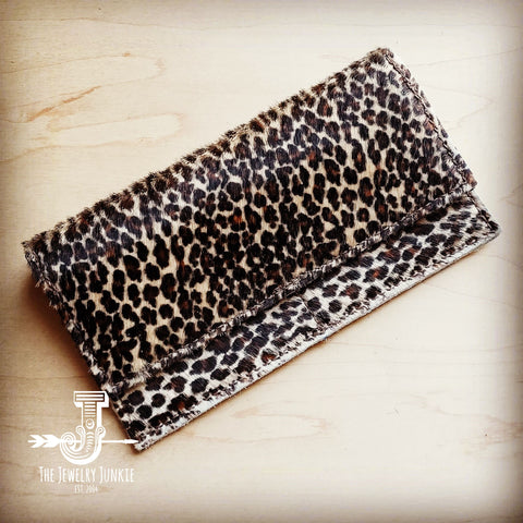 Hair-on-Hide Leather Wallet-Mini Leopard 300r