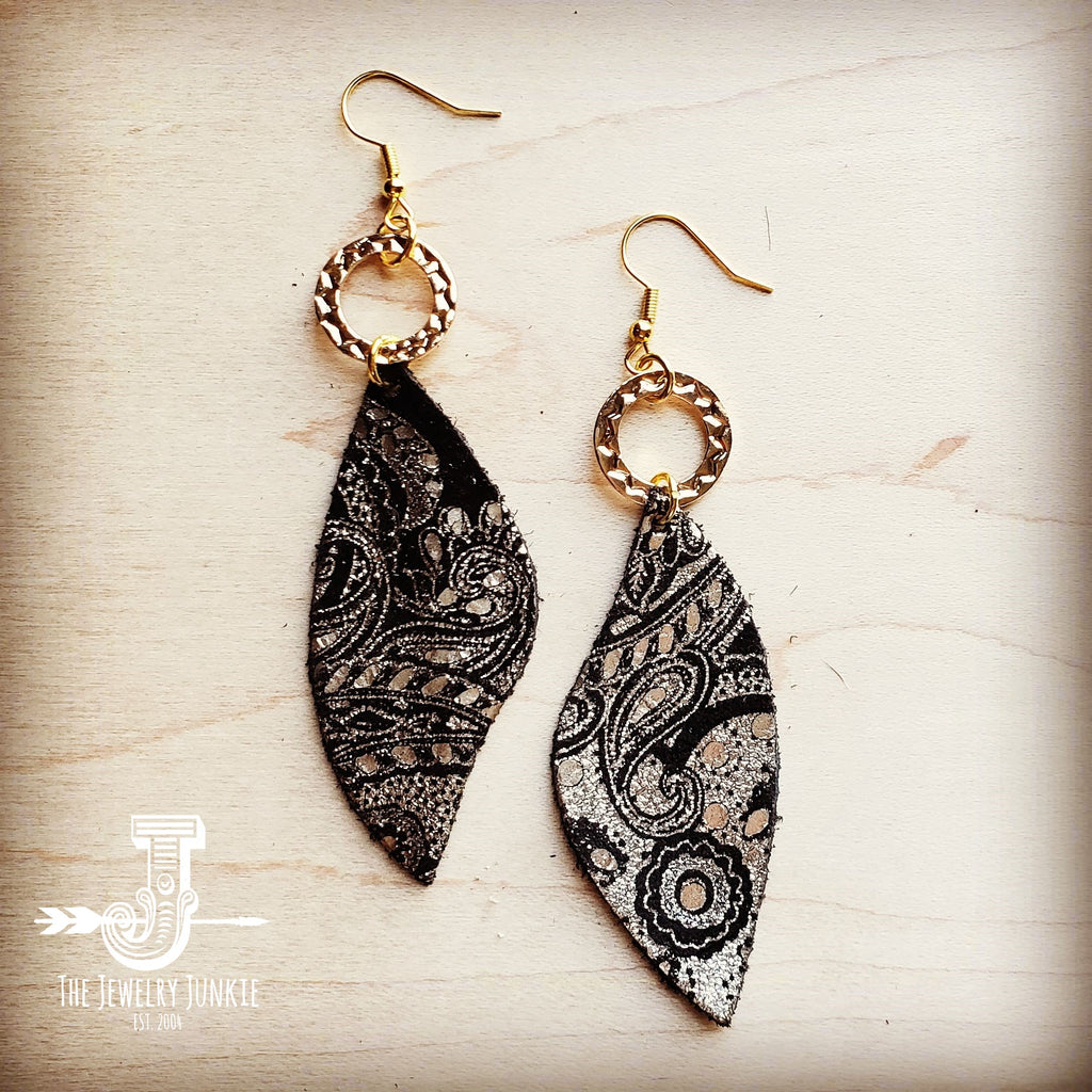 **Leather Accent Earrings in Black and Gold Paisley 201b