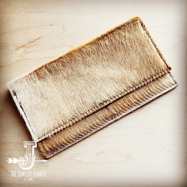 Hair-on-Hide Leather Wallet-Light Tan Brindle 300p