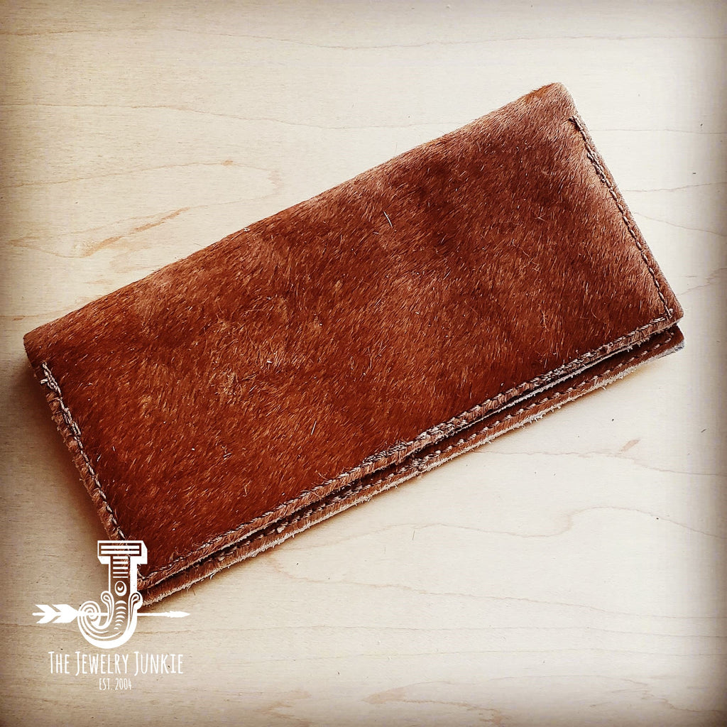 Hair-on-Hide Leather Wallet-Tan Brindle 300o