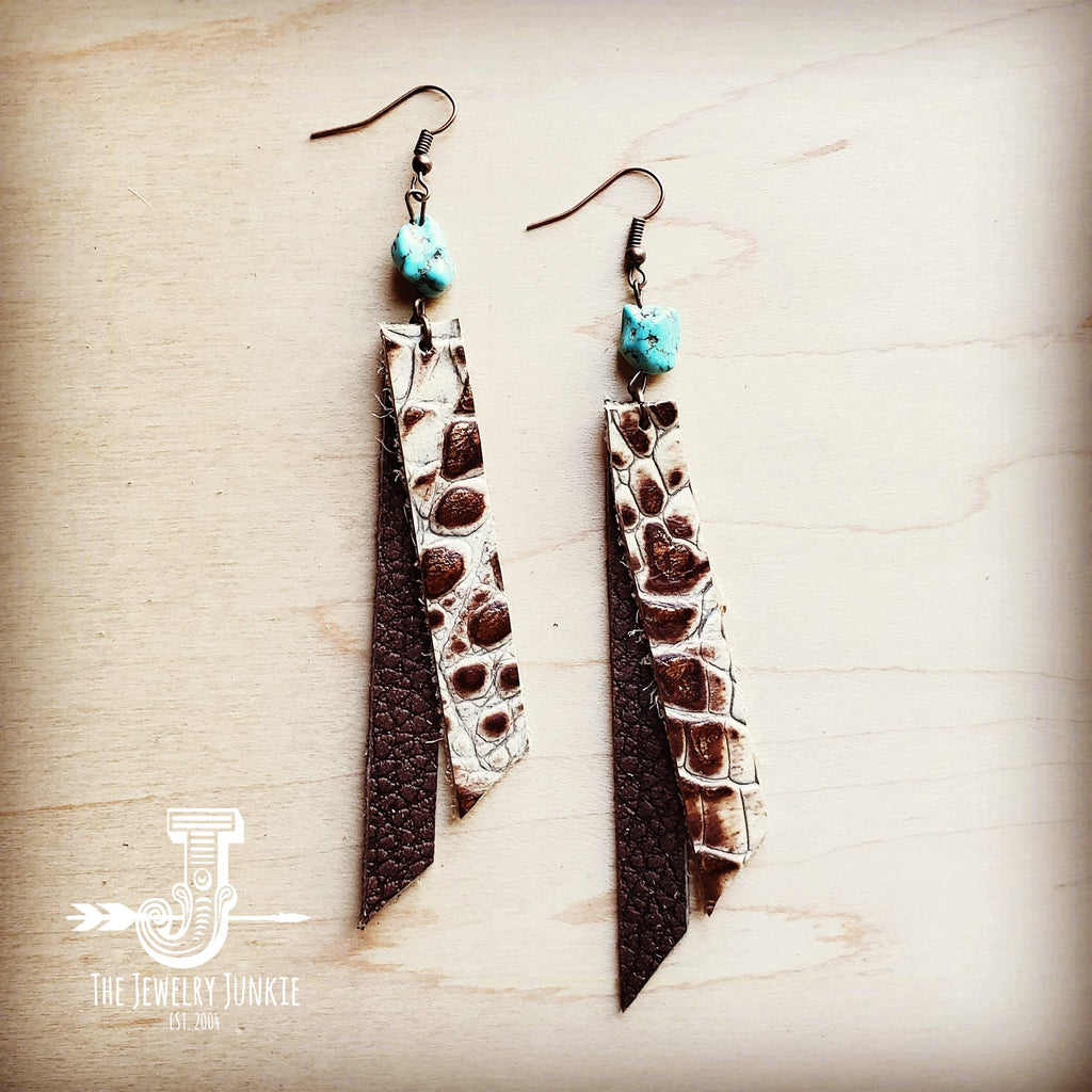 Leather Rectangle Earrings w/ Turquoise in Cream Bronze Gator 201i