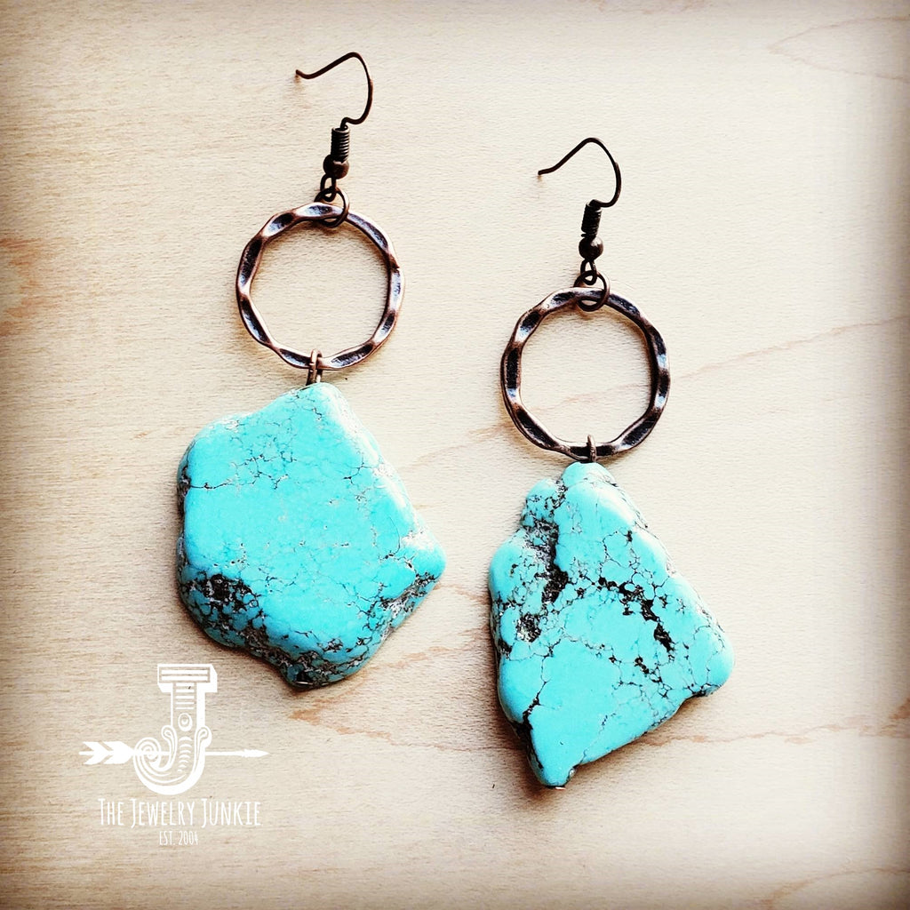 Blue Turquoise Chunky Earrings 215q