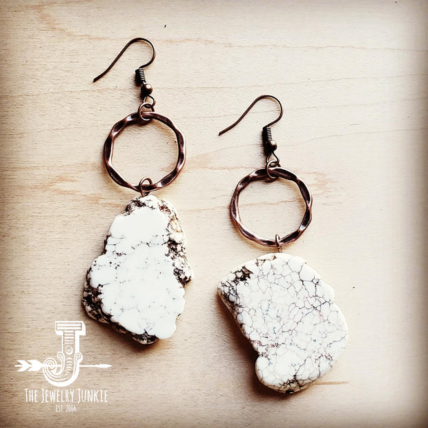 White Turquoise Chunky Earrings 215N 1
