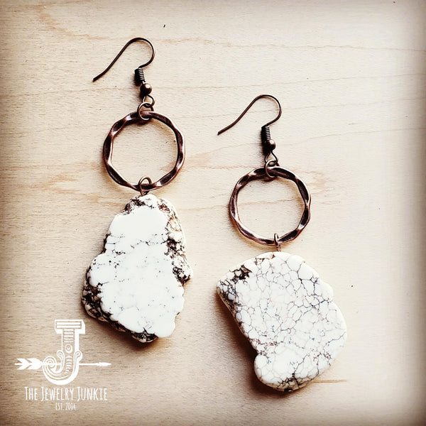 White Turquoise Chunky Earrings 215N