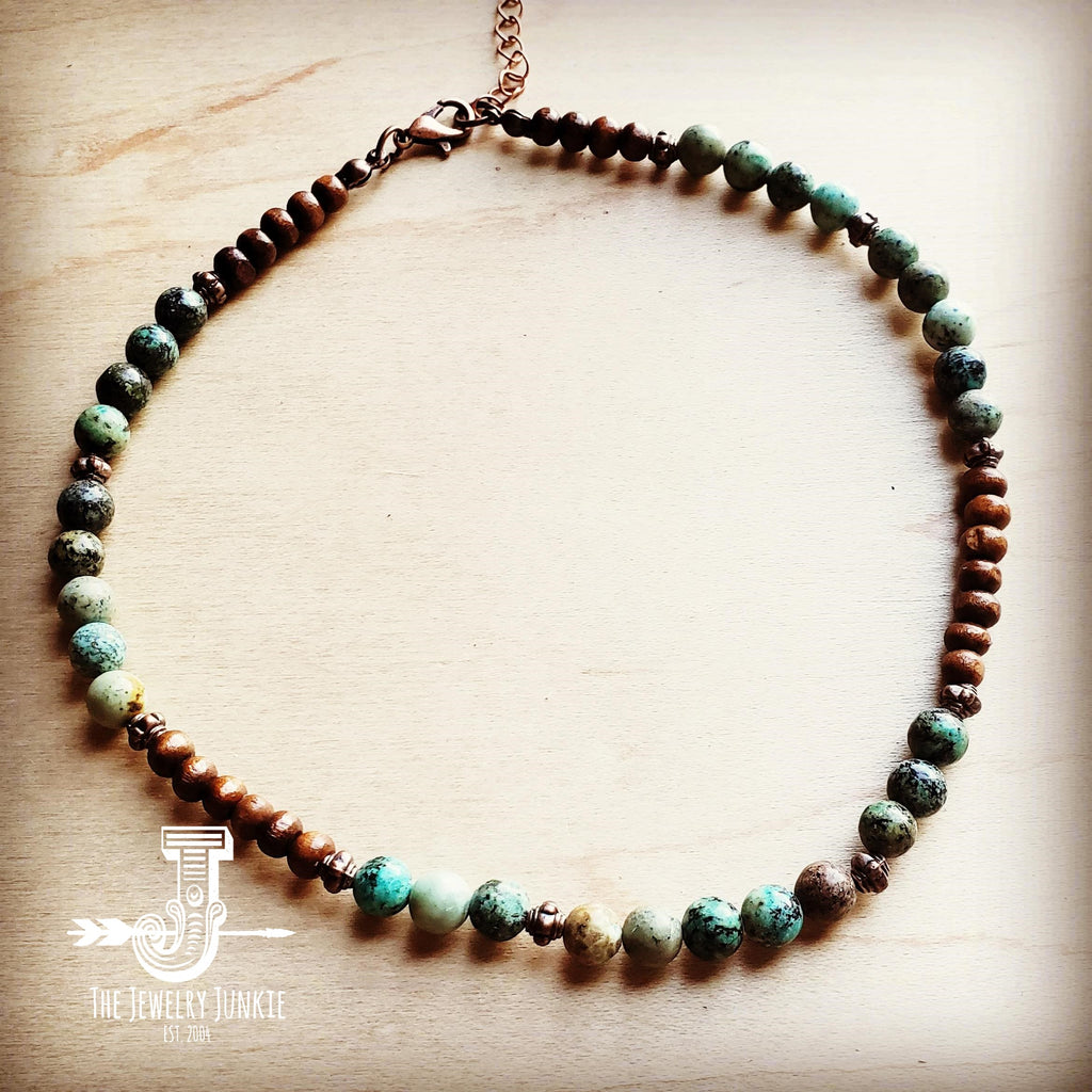 African Turquoise Choker Necklace 230F