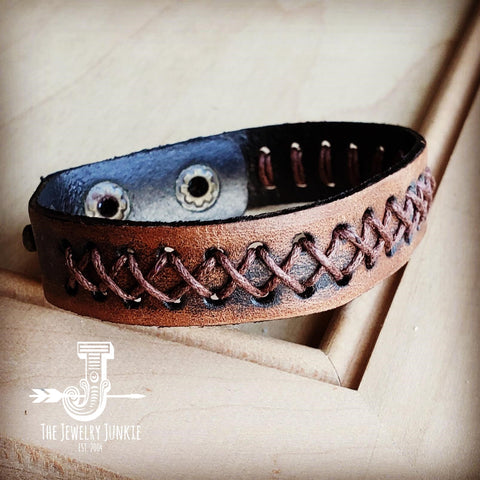 Dark Brown Vintage Laced Cuff-X Pattern 011e