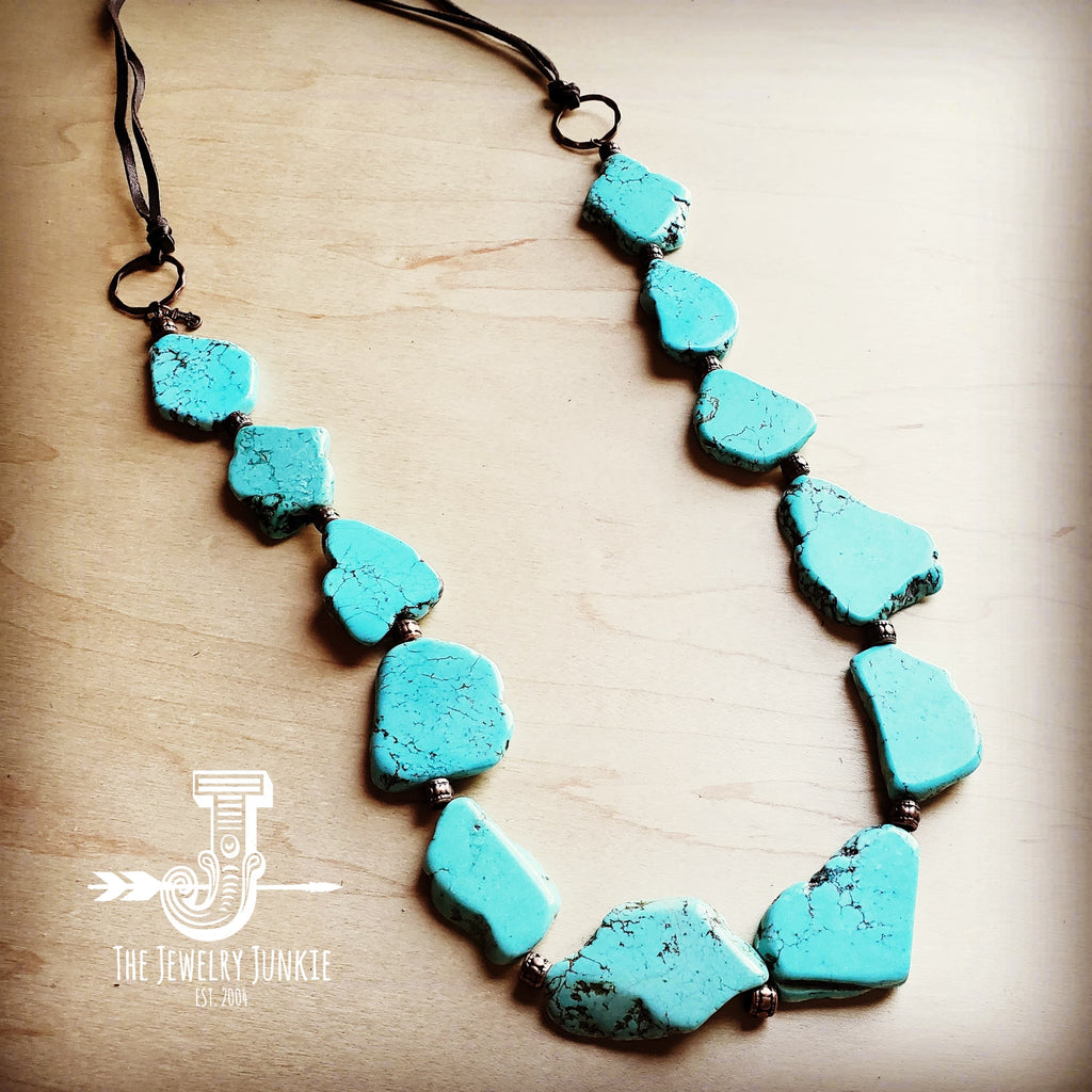 Blue Turquoise Slab Necklace with Leather Ties 235X