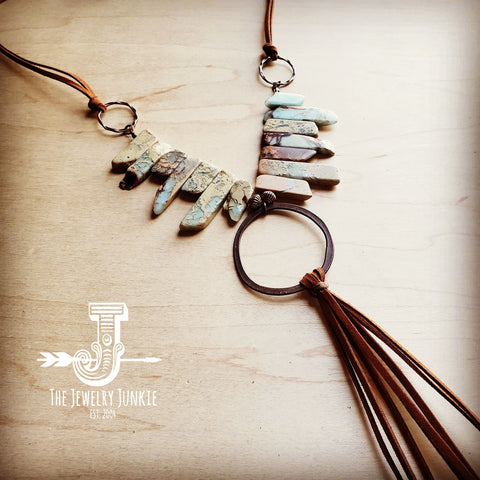 Aqua Terra Necklace w/ Hammered Copper Hoop and Long Fringe 225o