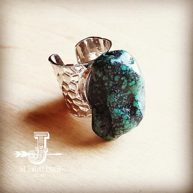 Natural Turquoise Chunk on Cuff Ring  012v 1