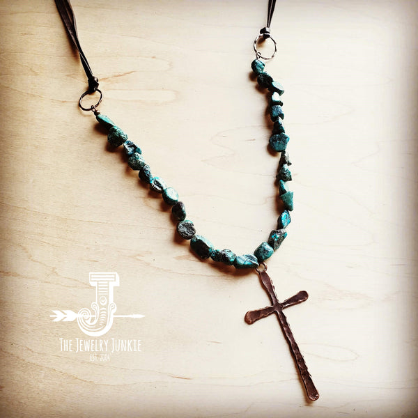 African Turquoise Necklace with Large Copper CROSS Pendant 242u