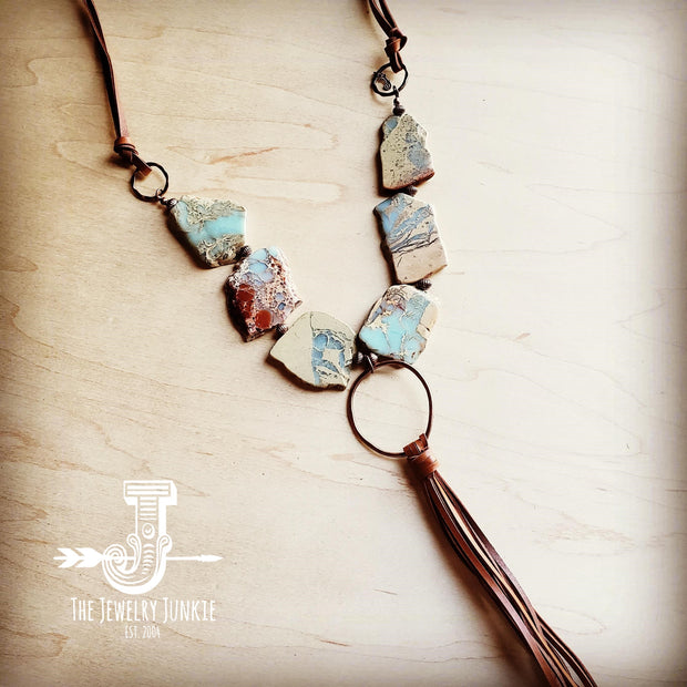 Aqua Terra Slab Necklace with Copper Hoop and Fringe Tassel 240r 1