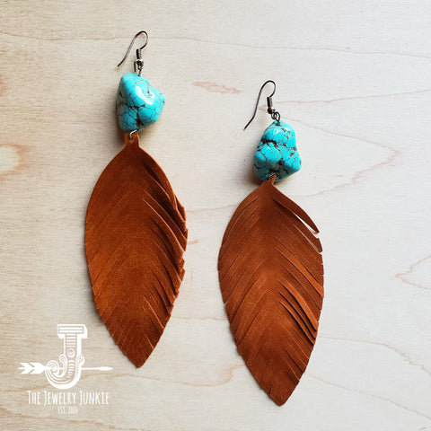 Tan Suede Feather Earrings with Turquoise Chunks (201h)