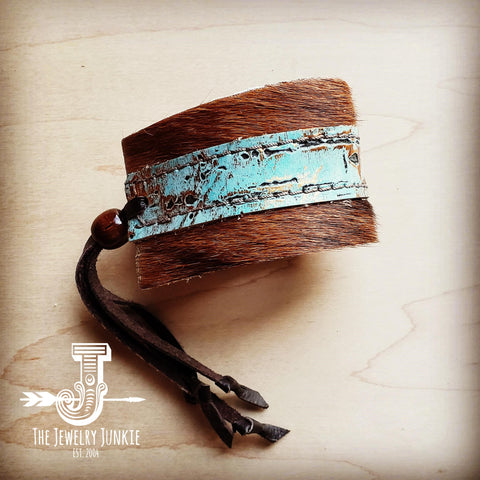 Leather Cuff w/ Adjustable Leather Turquoise Metallic (011g)