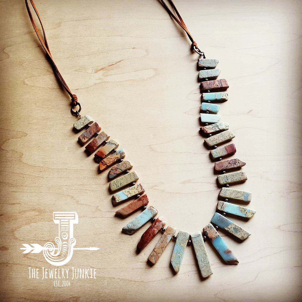 Aqua Terra Small Slab Necklace with Leather Ties 250b