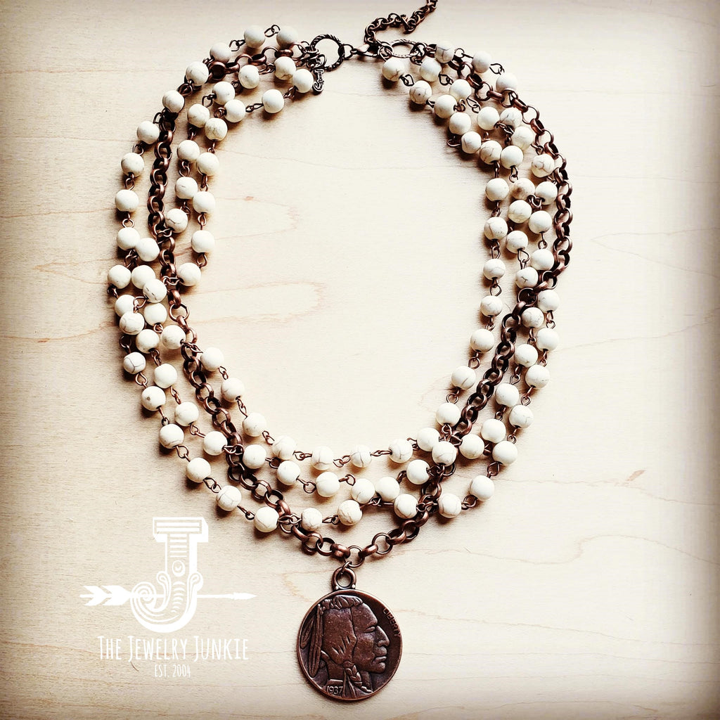 White Turquoise And Copper Necklace with Copper Coin  227Y