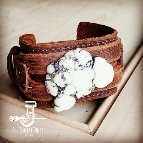 Chunky White Turquoise on Dusty Leather Cuff 230Y
