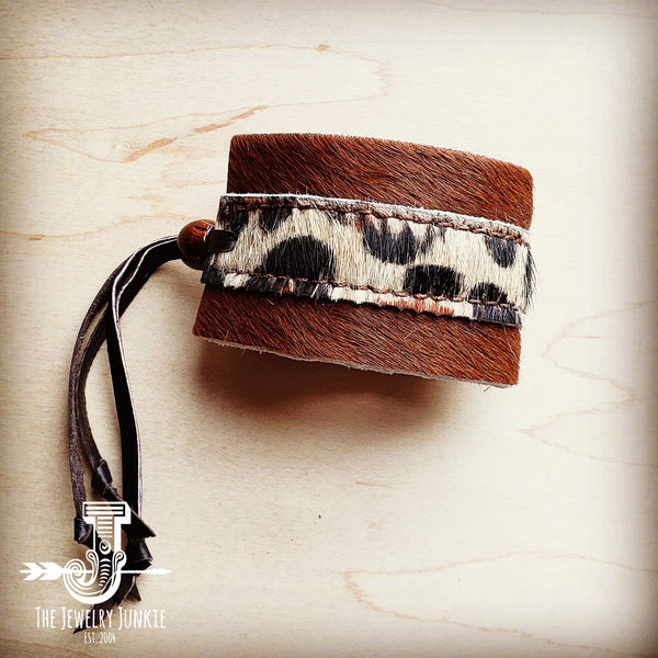 Leather Cuff w/ Adjustable Leather Tie-Leopard Hair on Hide (009o)