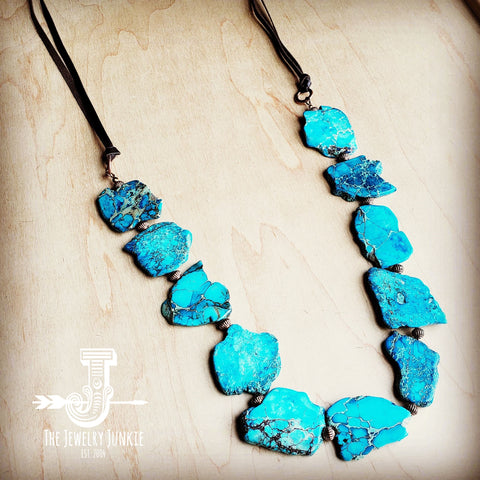 Chunky Blue Regalite Beaded Necklace 229H