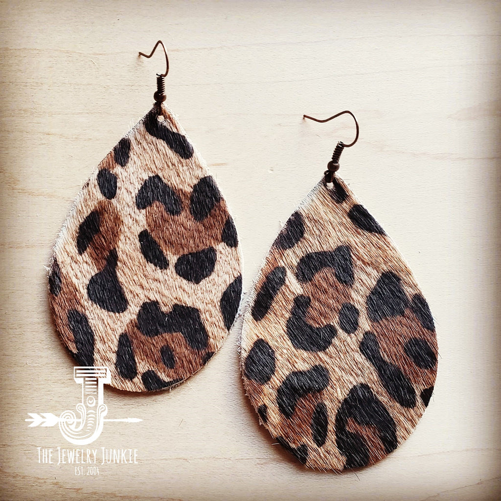 Leather Teardrop Earrings in Leopard Print Hair on Hide 216n