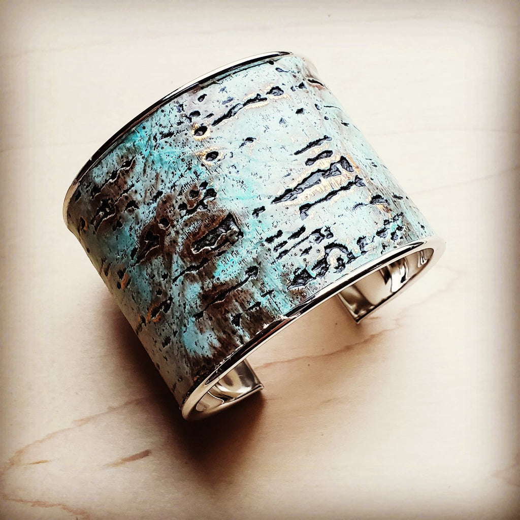 Wide Cuff Bangle Bracelet in Turquoise Metallic Leather 011j