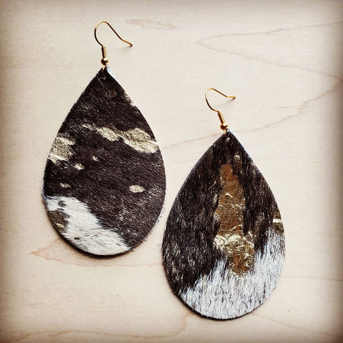 Leather Teardrop Earrings in Mixed Metallic Hair on Hide 201p
