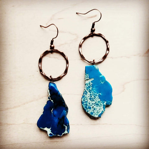 Blue Regalite Chunky Earrings 215p