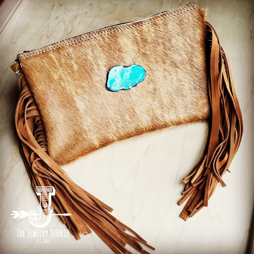 Hair on Hide Handbag w/ Leather Fringe and Regalite Slab 502a