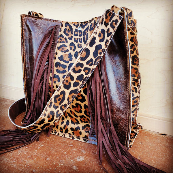 Hair on Hide Box Handbag w/ Leopard Accents  504h