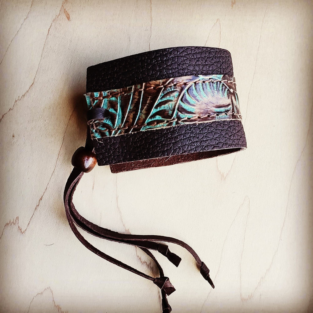 Leather Cuff w/ Adjustable Tie in Brown & Turquoise Brown Accent 001y