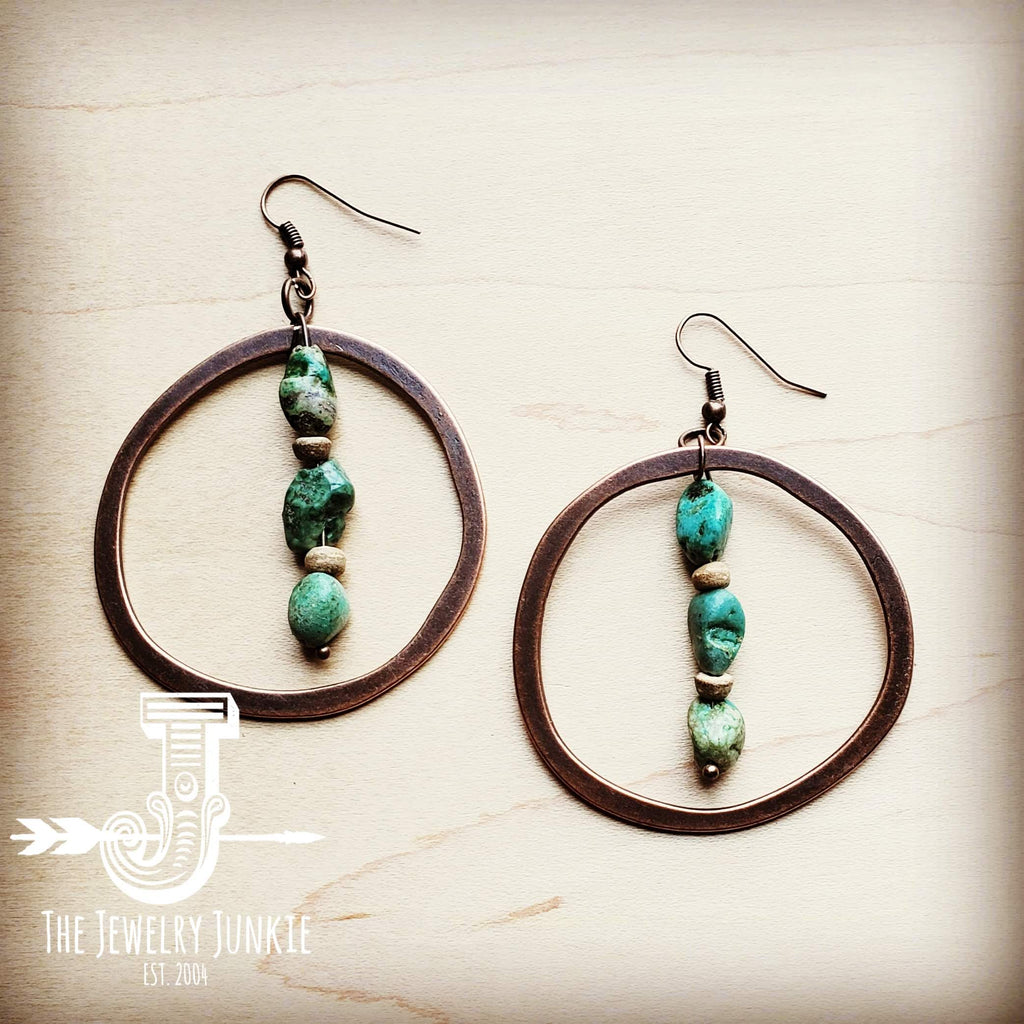 Copper Hoop Earrings w/ Natural Turquoise and Wood 201q