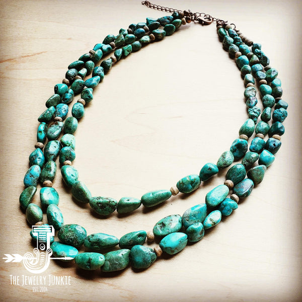 Triple Strand Natural Turquoise & Wood Collar Necklace 250m