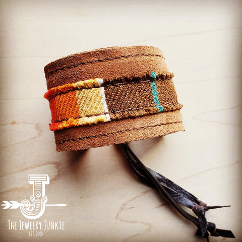 Leather Cuff w/ Leather Tie-Brown Hide and Brown Serape (011m)